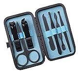 Kit de aseo de uñas Clipper Manicura Set de acero inoxidable Clipper Kit profesional Tijeras de uñas Azul