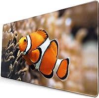 水中カラフルフィッシュタートルマウスパッド15.8x29.5インチブラックマウスパッド、滑り止めラバーベースマウスマットオフィス/ゲーム/家庭用マウスパッド