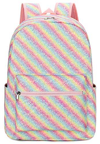 BLUBOON School Backpack Teens Girls School Bags Kids Bookbag with Laptop Sleeve (Rainbow 0105)