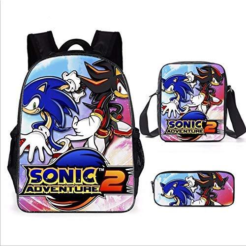 min min Sonic School Bag New kindergarten pupils cartoon Sonic schoolbag backpack backpack 3 pieces/set