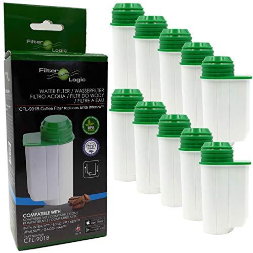 FilterLogic CFL-901B | 10er Pack - Wasserfilter kompatibel mit Brita Intenza TCZ7003 TZ70003 00575491 für Siemens EQ Series EQ.3 EQ.5 EQ.6 EQ.7 EQ.8 EQ.9 plus / Bosch Verocup Verobar Kaffeevollautomat