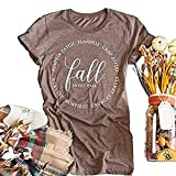 Beopjesk Women's Short Sleeve Thanksgiving Pumpkin Blessed Thanksful T Shirt Funny Casual Graphic Tees Tops (XL, Khaki-Fall)