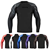 Sanabul Essentials Long Sleeve Compression Training Rash Guard for MMA BJJ Wrestling (Medium, All Black)