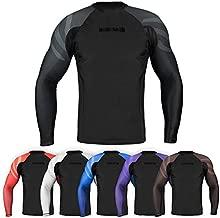 Sanabul Essentials Long Sleeve Compression Training Rash Guard for MMA BJJ Wrestling (Medium, All Black)