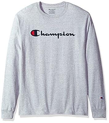 Champion Men's Classic Jersey Long Sleeve Script T-Shirt, Light Steel, Sm