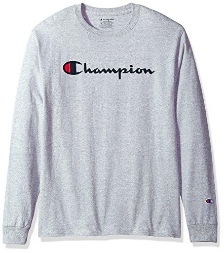 Champion Men's Classic Jersey Long Sleeve Script T-Shirt, Light Steel, Lg