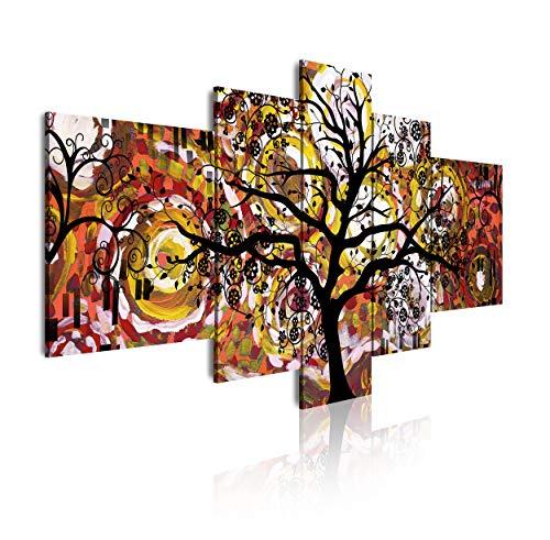 DekoArte - Cuadros Modernos Impresión de Imagen Artística Digitalizada, Lienzo Decorativo Para Tu Salón o Dormitorio, Estilo Abstracto Arte Árbol de la Vida de Gustav Klimt, 5 Piezas 180 x 85 cm