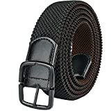 Drizzte Mens Plus Size 43'' Long Stretchy Belts Reversible Black Brown Adjustable Comfort Elastic