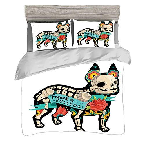 Juego de funda nórdica (220 x 240 cm) con 2 fundas de almohada Buldog Ropa de cama con impresión digital Obra gótica, silueta de cachorro, con flores de colores y esqueleto, bulldog francés, multicolo