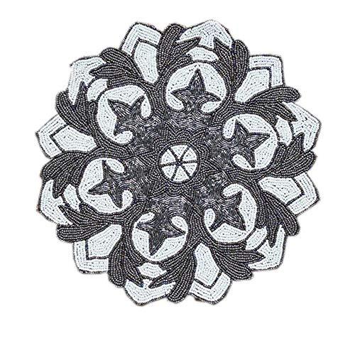 Jcnfa handgemaakte kralen ontwerp, vaas mat, tafellamp pad, decoratie ambachten bloem patroon, 14,17-inch - 1-delig 3 pieces Zwart+wit
