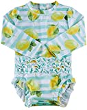 Kids4ever Swimsuit for Baby Girl Long Sleeve Swimwear with Zip-Up Funny Beach Infant Bathing Suit UPF 50+ Clothes (Blue Yellow White Lemon,9M 6-12 Months)