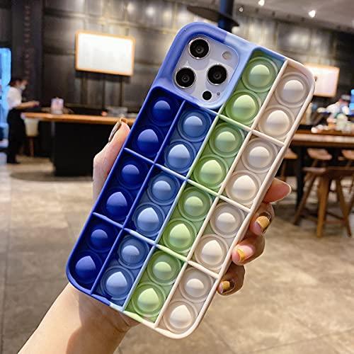 Fidget Toys Capa Compatível com iPhone 8 Plus, 3D Pop Bubble Fidget Sensory Toy Capa de silicone para alívio de tensões, capa protetora de silicone macia para iPhone 8 Plus, Novo Azul-Branco