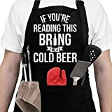Aprons For Men With Pockets - Gifts For Men - Valentines Day Gifts For Men, Dad - Birthday Gifts for Men, Dad, Husband, Boyfriend, Him - Grill Cooking BBQ Kitchen Chef Apron