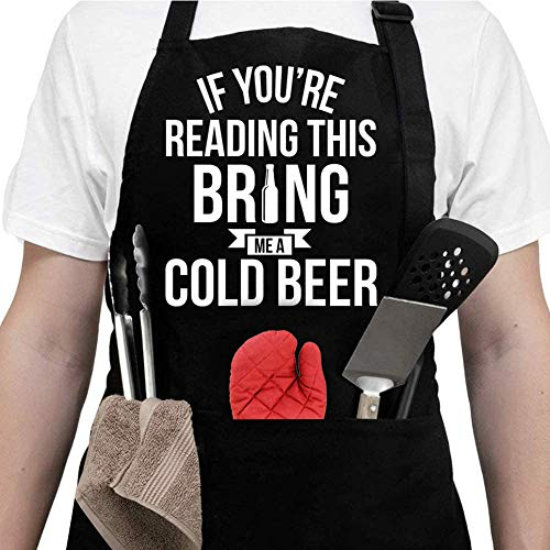 Aprons For Men With Pockets - Fathers Day Gifts - Gifts For Men, Dad -Birthday Gifts for Men, Dad, Husband, Boyfriend, Him - Grill Cooking BBQ Kitchen Chef Apron