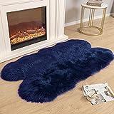 Carvapet Soft Fluffy Faux Sheepskin Fur Area Rug for Bedroom Floor Sofa Living Room 3 x 5 Feet,Navy Blue