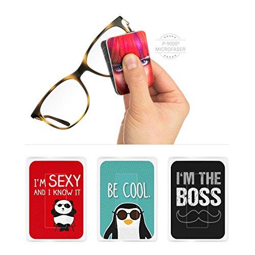 POLYCLEAN 3X PocketCleaner® Brillenreiniger – Praktisches Brillenputztuch und Display Reinigungstuch – Microfasertuch Made in Germany (12x4 cm, 3 Stück, Sprüche)