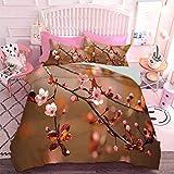 Hiiiman - Juego de 3 piezas para todas las estaciones, diseño de cerezo, flores y flores japonesas florecientes (3 piezas, tamaño king) 1 funda de edredón y 2 fundas de almohada