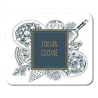 マウスパッドスパゲッティパスタイタリア料理食品ラベルラビオリファルファッレピザとワインリニアグラフィックイタリアマウスマットマウスパッドノートブックデスクトップコンピューターに適したマウスパッド 18x22cm