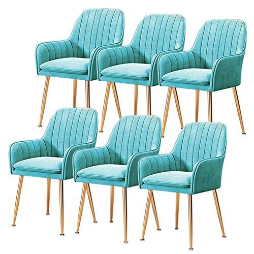 ZYXF Conjunto de 6 Elegante Silla de Comedor tapizado Terciopelo Acento sillón Moderno Ocio sillón para Sala de Estar Dormitorio casa Oficina cafetería Restaurante