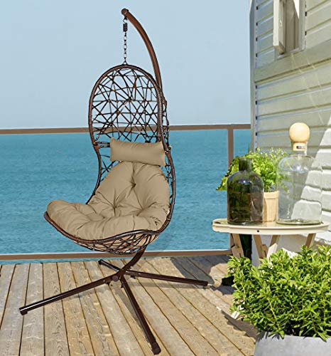 Action club Egg Chair with Stand Indoor Outdoor Patio Wicker Hanging Swing Chair with UV Resistant Tufted Cushion Hammock Porch Chaise Lounge Chair Steel Frame (Dark Grey)