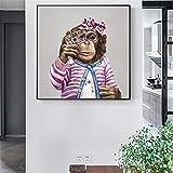 KWzEQ Pintura sin Marco Habitación para niños Mono Arte de la Pared póster Abstracto Animal Sala de Estar Moderna decoración del hogarAY6782 40X40cm