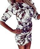 Vestiti Donna Eleganti Camicia Vestito Manica Lunga Tubino Vintage Stampato Floreali Moda Casual Unico Abito da Cerimonia da Sera Cocktail Autunno Corti Abiti Vestitini