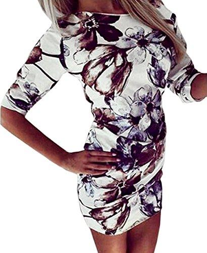 Druckkleider Damen Sommer Herbst Minikleid Abendkleider T-Shirts Rundkragen Blusen Dreiviertelarm Mädchen Kleidung Young Fashion Blumen Gemustert (Color : Weiß, Size : M)