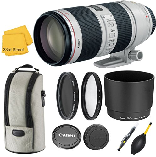 Canon EF 70-200MM f/2.8L is II USM TELEPHOTO Zoom Lens with Original Canon CASE LZ1326 and Original Hood ET-87 Exclusive 33RD STREET Camera Lens Bundle KIT Including Commander PRO POLARIZING Filter