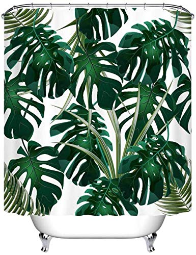 KEKESHIGEDOU Tenda da Doccia Jungle Tropicale Foglia di Palma Verde Monstera Sfondo Bagno Tenda Impermeabile Muffa Muffa Poliestere Accessori per la casa 180x240cm