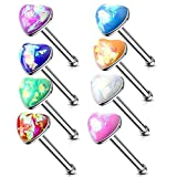 MoBody 4-8 Piece Created Opal Heart Nose Ring Stud Set 20G Surgical Steel Stone Nose Bone Piercing Screws Value Pack (8 Piece Set)
