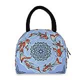 Alarge - Bolsa térmica para el almuerzo, diseño de flores japonesas, peces de loto Koi, mujeres, hombres, a prueba de fugas, reutilizable, bolsa para el almuerzo, para viaje, trabajo, picnic