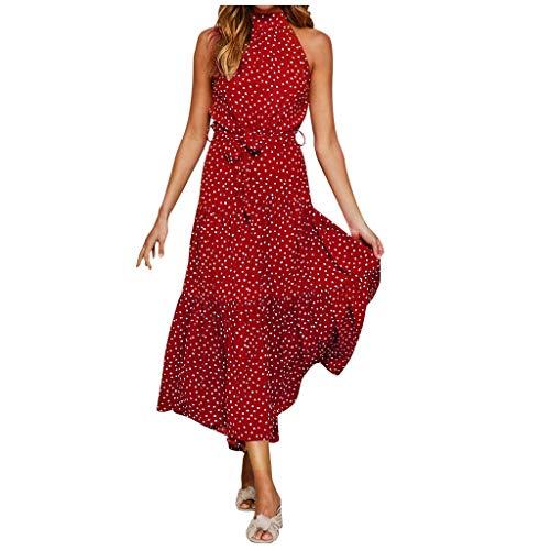 MORETIME Damen Kleid Mode Gepunktetes Kleid Mit Punkten Gepunktet SpaghettiträGer Kleid Lang Casual Kleider Freizeitkleider rot XL