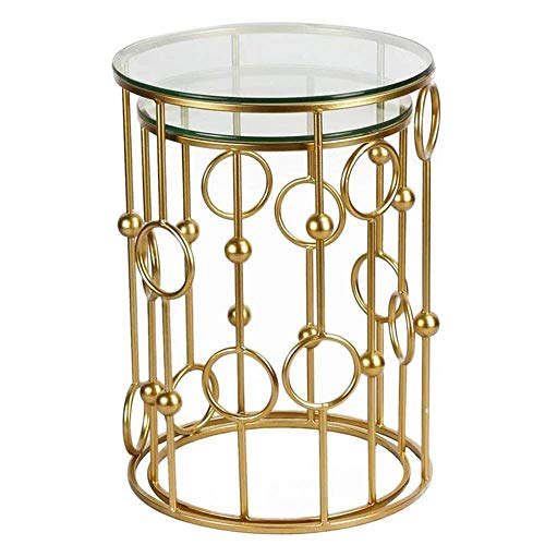 B-CD Moderne Glas Verstärken Europäischen Beistelltisch Mode Einfachen Hohlen Nachttisch Metall Wohnzimmer Sofa Seite Kleinen Tee Tisch, Gold-40 * 60cm