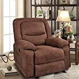 Recliner Chair Sleeper Reading Chairs for Bedroom Oversized Linen Recliner Chairs for Living Room Theater Seating Power Recliner with Heat and Massage (Brown)