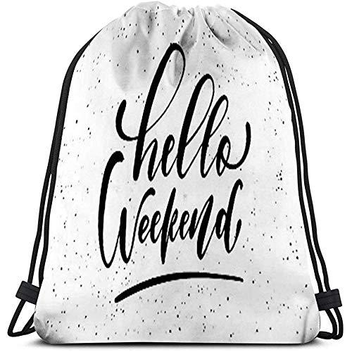 String Gym Backpack Classic Drawstring Bag Sport Storage Bag for Man Women hola fin de semana tinta pincel pluma dibujado a mano fraseología letras aisladas tipografía grunge