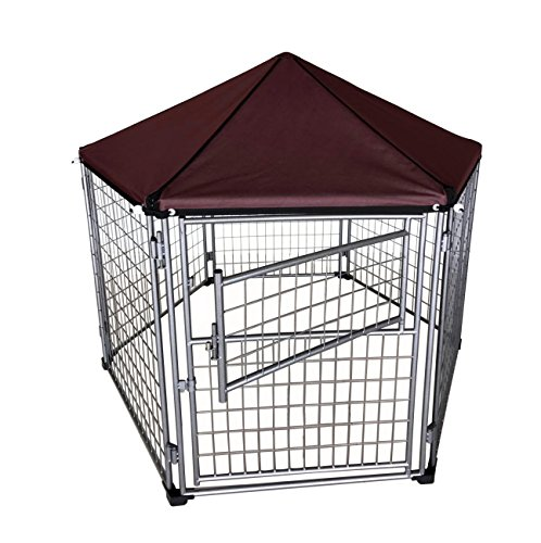 Neocraft My Pet Companion Outdoor Dog Kennel with Included Roof Weather Resistant Cover (5.5'), Waterproof Winter Welded Wire Pet House Shelter – Ideal for Any Dog Breed, Easy Assembly