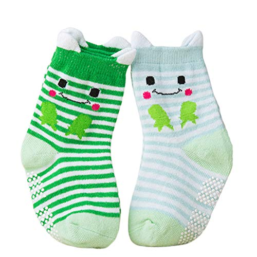 Sukisuki Lot de 2 Paires de Chaussettes Chaudes pour bébé garçon et Fille Motif Animal de Dessin animé Doux et antidérapant, Coton, Frog*, Taille M