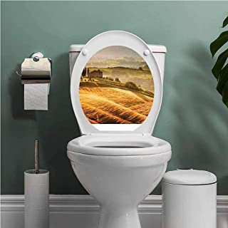 SCOCICI1588 Tuscan Toilet Seats Wall Stickers Removable Siena Tuscany Retro Farm House Trees Old Path Country Landscape on Sunset Bathroom Decoration Decal Ginger and Green W13XL13 INCH