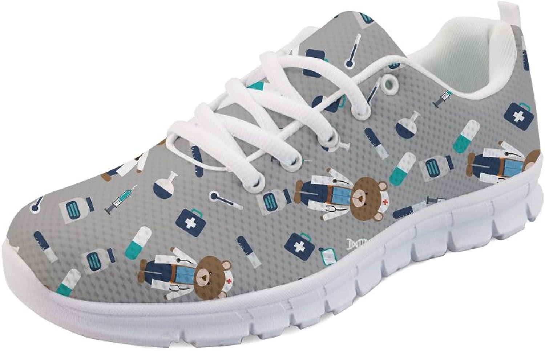 UNICEU Women's Running Sneakers Cartoon Nurse Bear Print Lightweiht Walking shoes