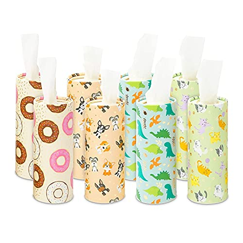 Cylinder Tissue Boxes for Car Cup Holder, 400 Wipes (4 Designs, 8 Pack)