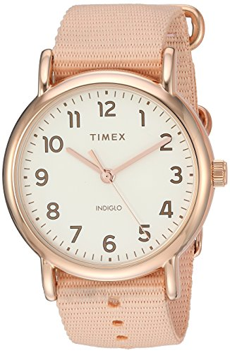 Timex Women's TW2R59600 Weekender 38mm Pink/Rose Gold-Tone Nylon Slip-Thru Strap Watch