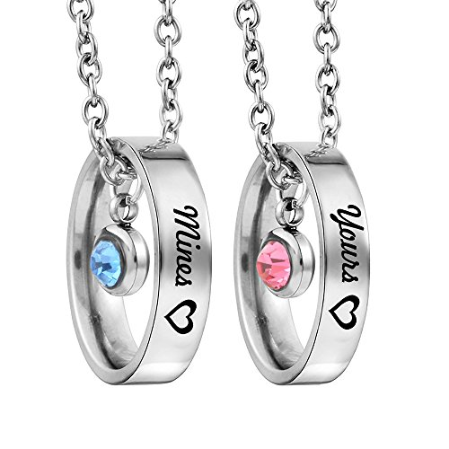MJartoria Matching Necklaces for Couples, His and Hers Engraved Rhinestone Ring Pendant Set Gifts for Boyfriend Girlfriend (Her Beauty His Beast Heart)
