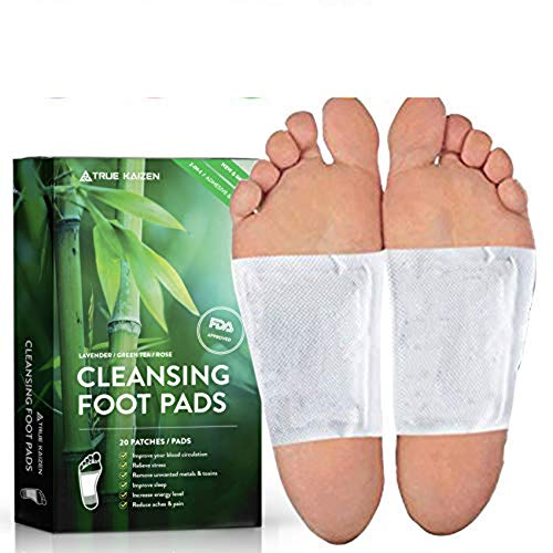 [UPGRADED-2020] True Kaizen Premium Lavender Green Tea Rose & Ginger Foot Patch Pads, 2-in-1 Strong Adhesive, 100% Natural Ingredients - Improve Sleep & Relief - eBook Included – 20 Pack