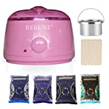REBUNE Wax Warmer Rapid Melt Hair Removal Waxing Kit with 4 Different Flavors Hard Wax Beans and Wax Applicator Sticks 3.5 oz A Bag of Wax Beans(Chamomile, Lavender,Nature,Chocolate)
