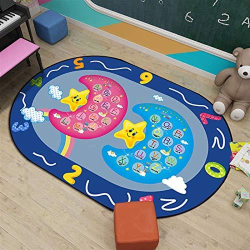 Dltmysh Alfombra Juego de niños Juego Mat de Dibujos Animados Número de Dibujos Animados Oval Azul Alfombra Kids Room World Mapa Mapa Mapa Mapa y alfombras para la Sala de Estar en el hogar