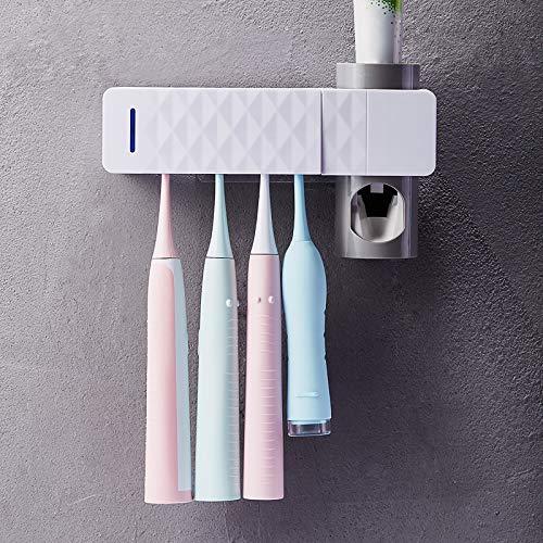 Portacepillos de Dientes Eléctrico Esterilizador UV, Soporte para cepillos de Diente esterilización, USB Recargable Función en la Pared para baño para 5 cepillos de Dientes