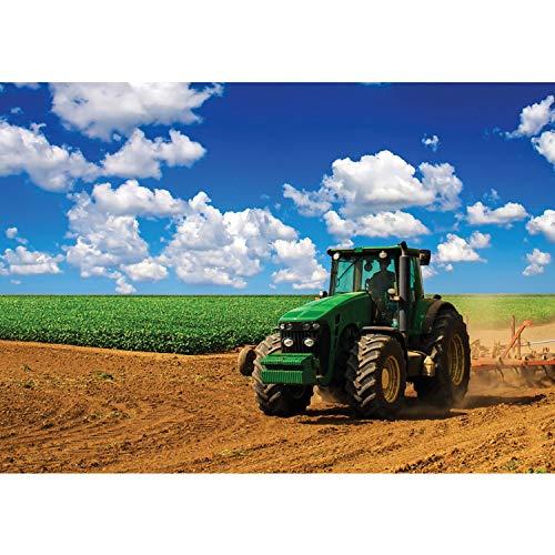 Vlies Fototapete PREMIUM PLUS Wand Foto Tapete Wand Bild Vliestapete - Himmel Feld Traktor Wolken - no. 3071, Größe:208x146cm Vlies