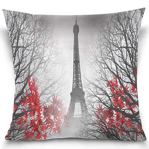 Moily Fayshow Eiffel Tower Tree Leaves Throw Pillow Covers Square Decorative Pillowcase Cushion Cover For Sofa Bedroom Livingroom 40X40 Cm