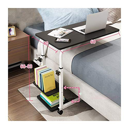 WERTYU Adjustable Lap Table with Slot Mobile Laptop Computer Stand Bedside Table Portable Side Table for Bed Sof Overbed Table with Castor (Color : Black Willow, Size : Upgrade Models)