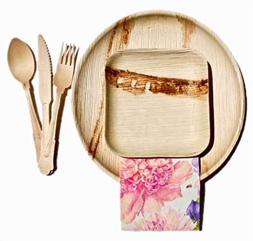"""Ecoelegant Tableware Palm Leaf Plates Bamboo Style 25 Pack 10"""" Round & 6"""" Square 